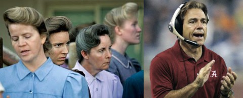 """Have you noticed that Nick Saban wears his hair just like a Mormon polygamist bride?"" says Amy Quarles. Photo illustration by Amy Quarles"