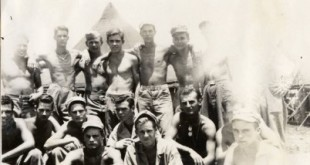 Some of the men in Company K-3-5, 1st Marine Division. Eugene B. Sledge is in the center of the front row, with his dungaree cap pushed back; his buddy George Sarrett is behind his right shoulder. This is the company that Sledge fought with in the Pacific in World War II.