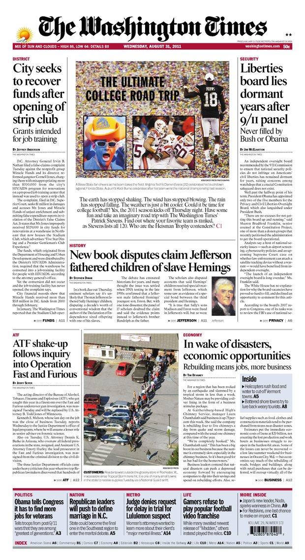 Kodi Burns on the Cover of the Washington Times