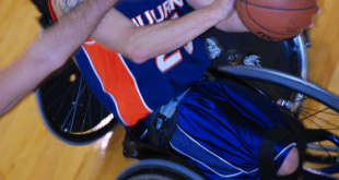 Auburn Wheelchair Basketball's Jared Rehm about to make it rain.