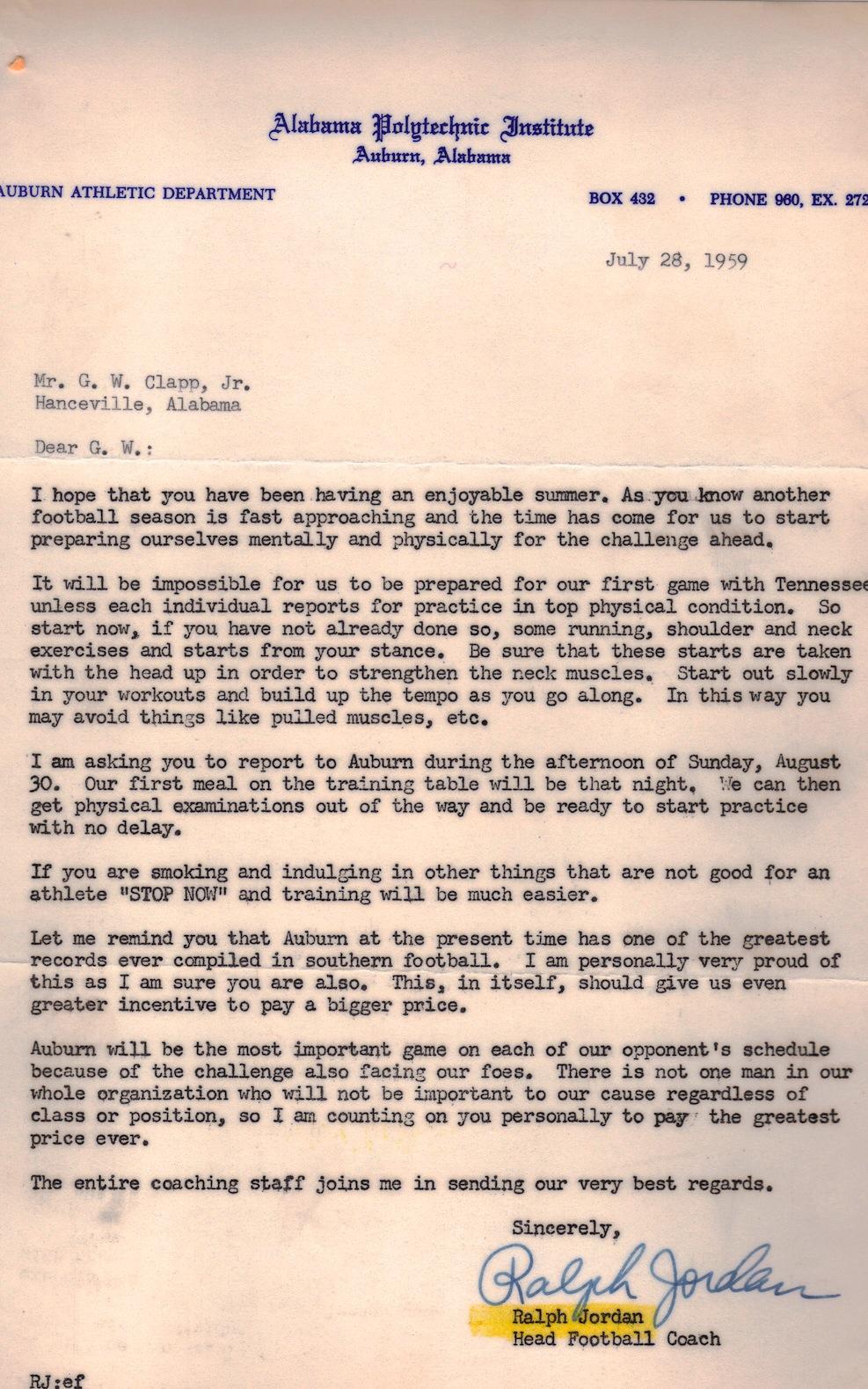 letterman preseason correspondence between shug and