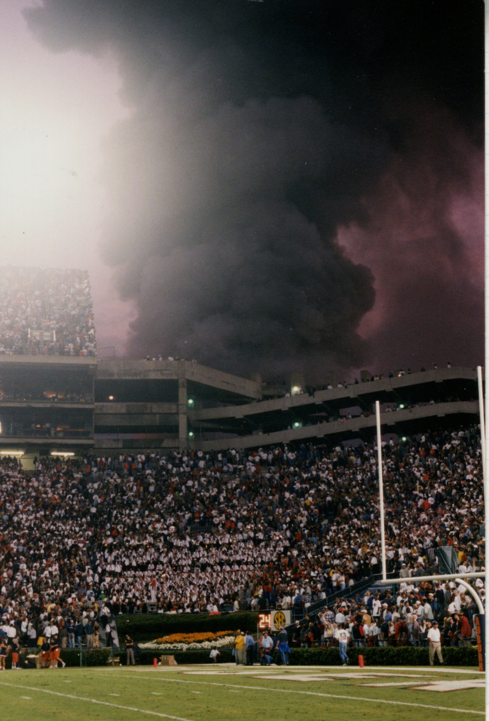Rare Photo Of Smoke Rising Above Jordan Hare The Night Barn