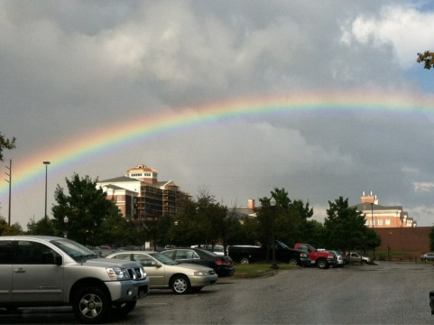 Rainbow over the Auburn campus.