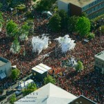 Aerial view of the final rolling of the Toomer's Oaks