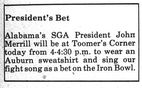 bama's sga president singing fight song toomer's corner 12.4.1986