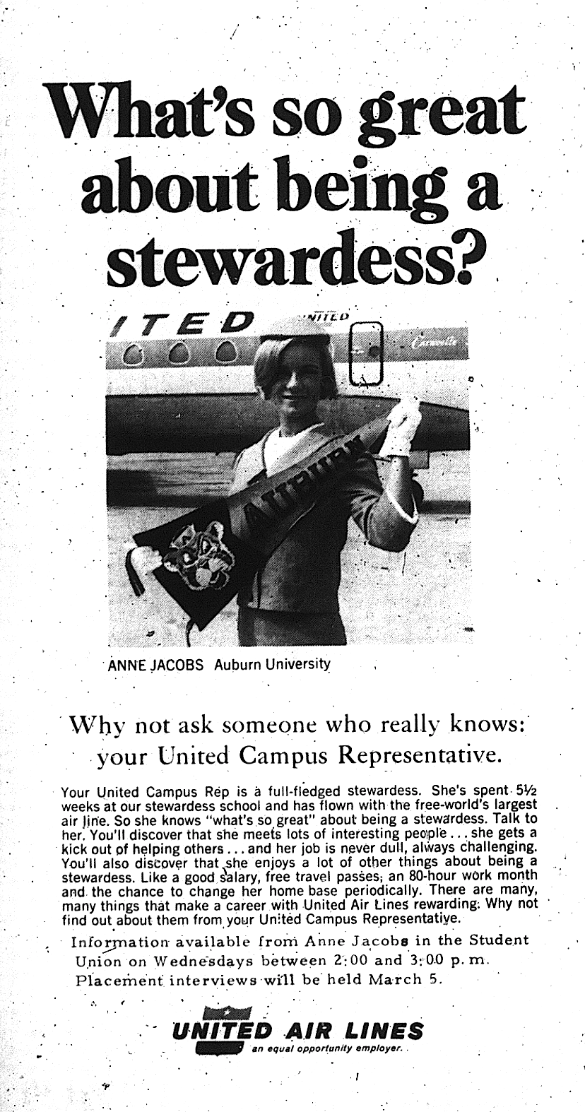 cheerleader works as stewardess with auburn sign UNITED AD crop 2.15.1968