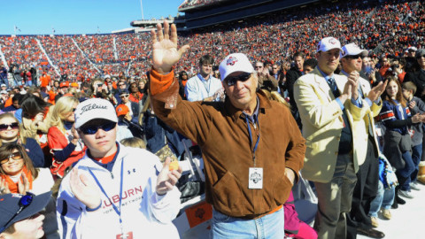 Pat Dye is introduced as an honored guest at Auburn's 2011 national championship celebration (Todd Van Emst Photo)
