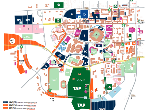 For a full parking and tailgating map, click here.