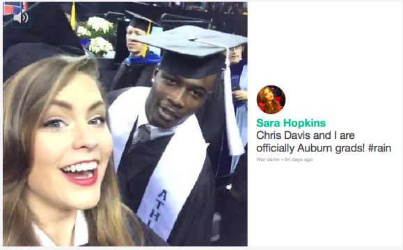 Six-seconds superstar Sara Hopkins graduated with one-second superhero Chris Davis in December.