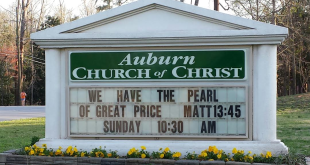 Auburn Church of Christ marquee features 'Pearl of Great Price' Bible verse following Auburn's hiring of Bruce Pearl