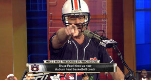 Bruce Pearl dons Auburn baseball jersey, football helmet on Thursday's episode of ESPN's 'Mike and Mike'