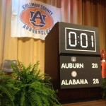 One second left on the podium for Gus Malzahn's speech at Cullman County Tiger Trek event