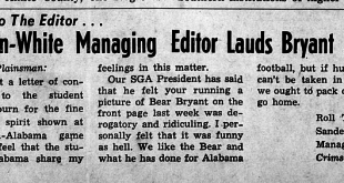 Bama balked at Plainsman's 1961 Loveliest of the Plains feature needling Bear Bryant over Darwin Holt incident vs. Georgia Tech