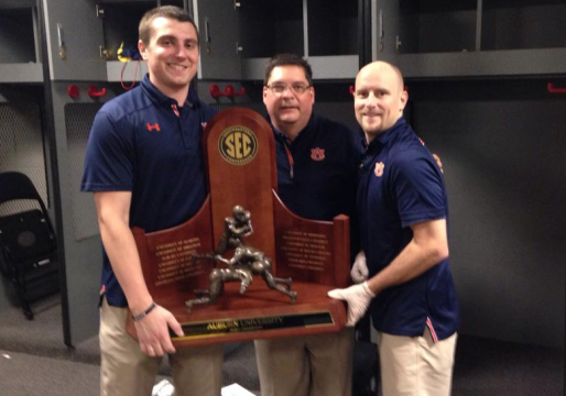 Boe (left) with Auburn Equipment Manager Dana Marquez and