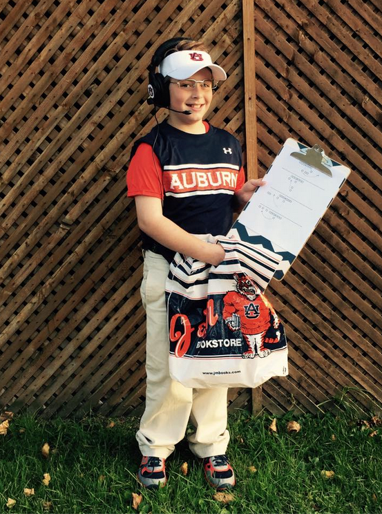 Probably the only Gus in the state of Pennsylvania. And this Friday night he will be wearing the white, long sleeve Under Armour shirt underneath. Even using J&M bag as his trick-or-treat bag.