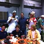Gus Malzahn with Cam Newton and Clint Moseley at the 2010 Auburn football team Halloween party