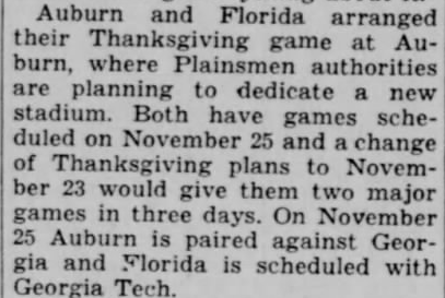 FDR's wacky executive decision threatened to throw the second half of the 1939 football season out of whack, and delay the dedication of Auburn Stadium until 1940.