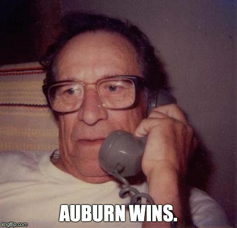 Desperate to keep up with Iron Bowl in real time while stranded in a Maryland parking lot, Auburn grad Stuart Spooner went with the only app he trusted: Dad. (Photo not actually Stuart's dad.)