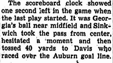 The Memorial Stadium scoreboard no doubt factored into outcome of Auburn's 1941 game vs. Georgia in Columbus, held a few weeks before Auburn's first stadium scoreboard was debuted.