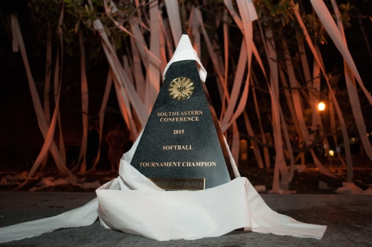 The SEC Tournament Championship Trophy  draped in toilet paper Sunday night during Auburn Softball's celebration at Toomer's Corner following its NCAA Tournament Selection Party. [Photo: Adam Sparks / The Auburn Plainsman]