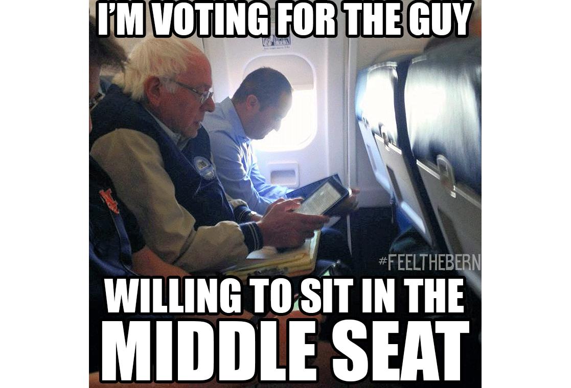 Yep Pretty Sure Thats An Auburn Shirt In That Bernie Sanders Flies Coach Meme