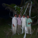 Brandon Cox celebrates last roll of Toomer's Oaks by rolling a palm tree in the Bahamas