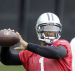 Cam Newton wears Auburn chin strap during Panthers OTAs