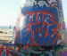Huge 'War Eagle' graffiti spray prainted on Venice Beach public art wall