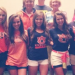 A photo of all the Auburn students competing in the 2014 Miss Alabama pageant in their Auburn and Kick, Bama, Kick shirts