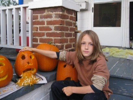 Leo Schmidt and his puking pumpkin.