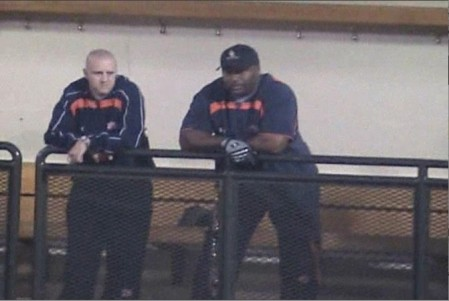 Some guy and Bo Jackson keep it real in the dugout at Auburn's Annual Celebrity Home Run Derby.