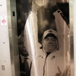 Going Up: Gene Chizik Trophy Graphic Covers Auburn Athletic Complex Elevator