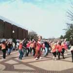 Aubie leads flash mob on the Haley Center concourse