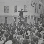 Human pyramid towers over late '70s Toomer's rolling