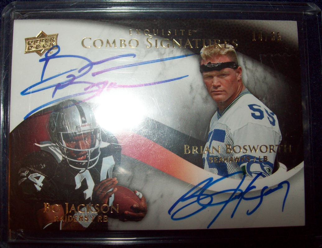 Bo Jackson Brian Bosworth Autographs Share Upper Deck