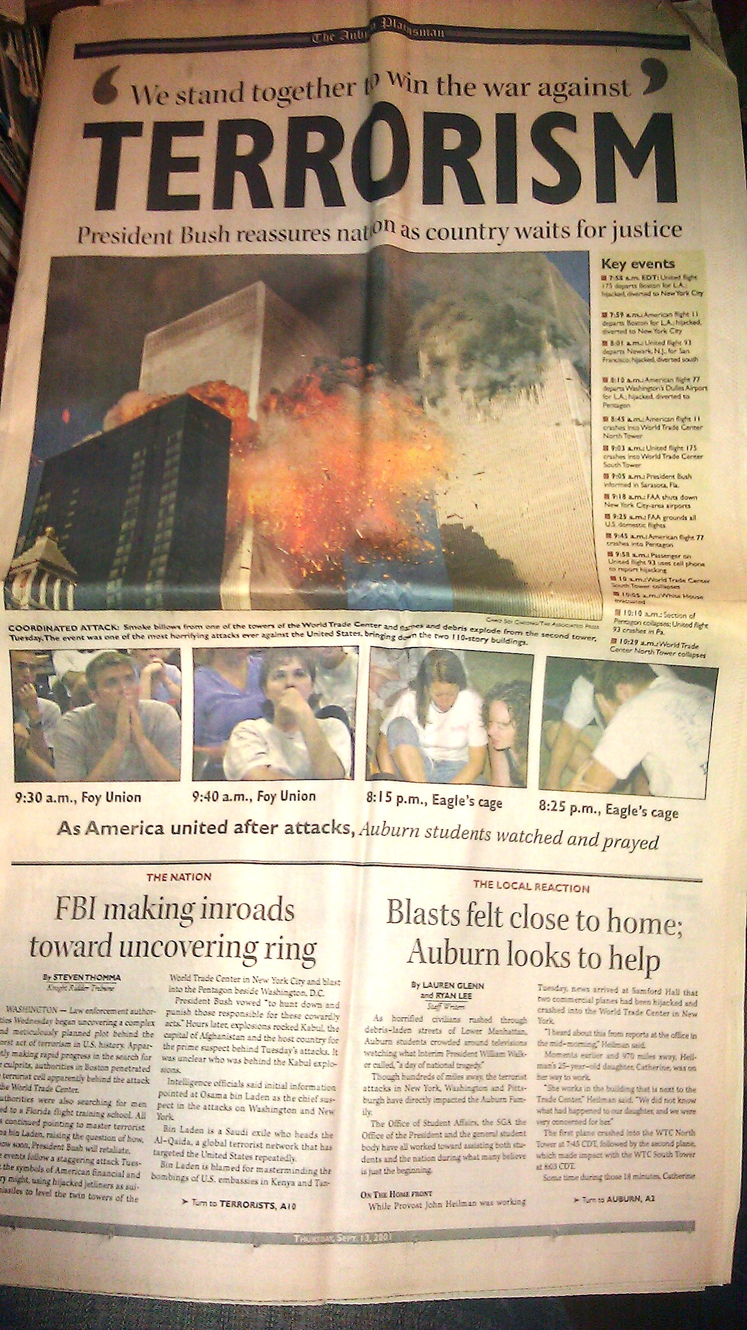 Front page of the September 13, 2001 issue of The Auburn