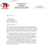 Lee Corso's 1972 letter to Shug; wanted Louisville to play the Amazins