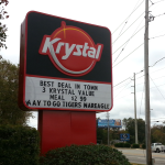 After a week of tough love, Krystal marquee congratulates Auburn