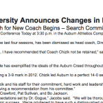 Auburn fires Gene Chizik: statements from Chizik and Jay Jacobs