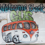 The Gus Bus poster on display in J&M's window