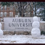 Photos from the 1973 Auburn snow storm include Punt, Bama, Punt score in snow