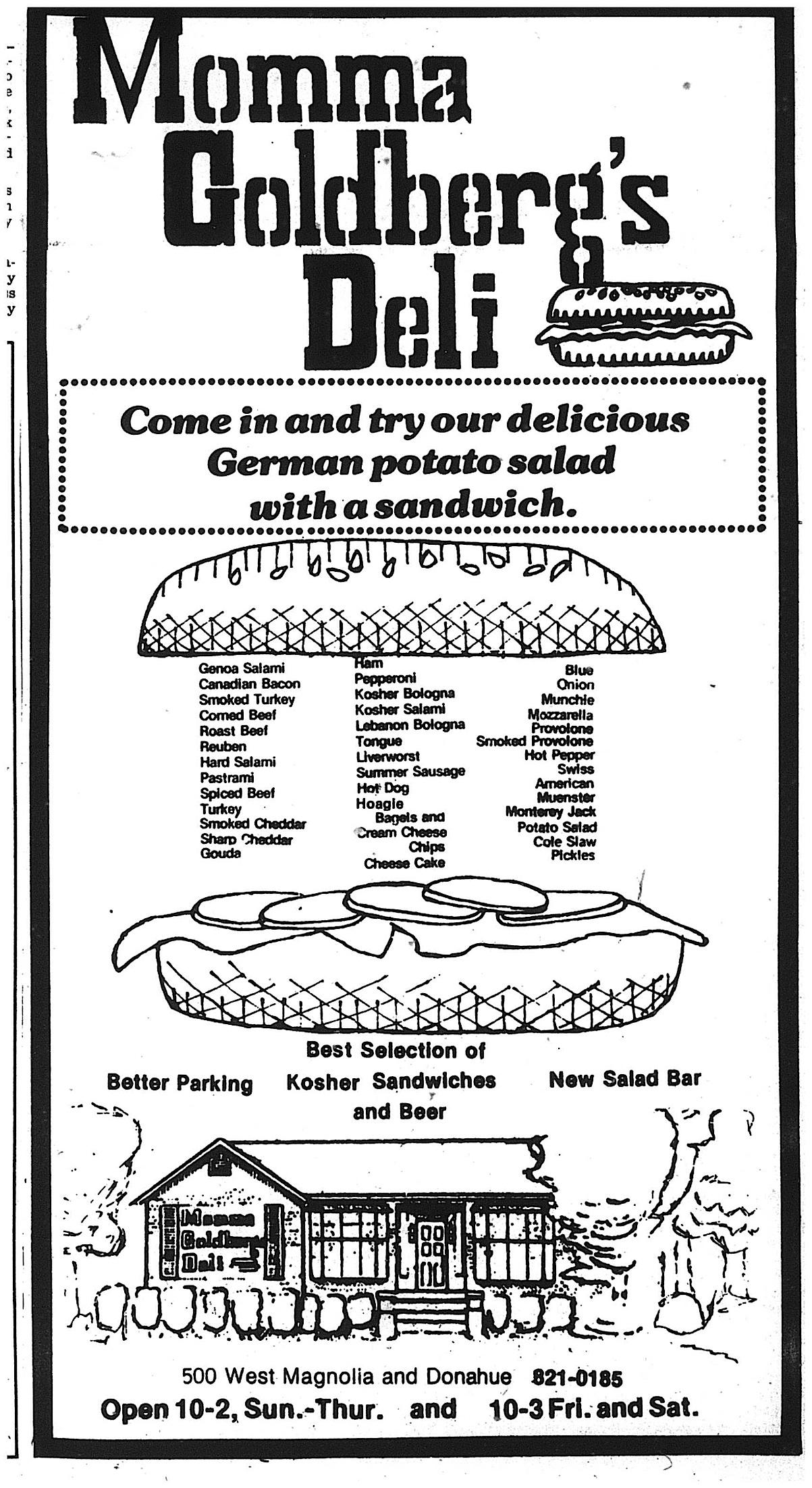 momma goldberg's 1979 menu crop