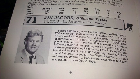 It's entirely possible that Auburn offensive tackle Jay Jacobs was the first SEC football player to ever have been drug tested.