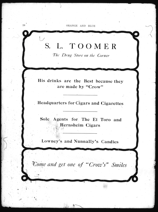 toomer's drugs ad 2.1.1911