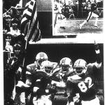 Aubie waving an American flag after an Auburn touchdown