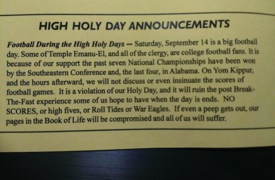 Synagag: No peep about pigskin will be heard inside Temple Emanu-El on Sept. 14. Photo via @AU_Family.