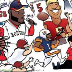 Chris Davis drawn runs past a Dufnering Jason Dufner in ESPN's 2013 Year In Sports illustration
