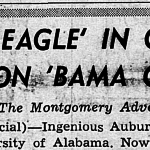 Auburn students (or someone) planted a giant winter grass 'WAR EAGLE' behind Denny Chimes before the 1961 Iron Bowl
