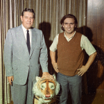 Shug smoking it up with the Sewell Hall stuffed tiger and some guy