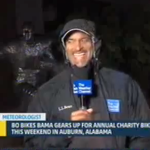 The Weather Channel reporting live from the Bo Jackson statue